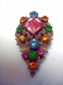 1920's - 1930's Dress Clip - Bohemian Filigree with Large Pink Square Jewel (SOLD)